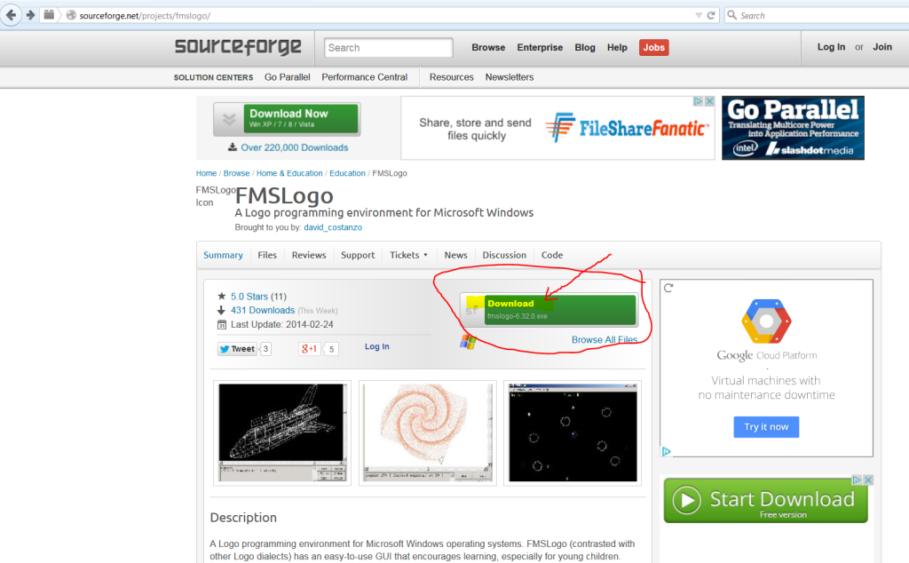Downloading FMS LOGO with Catamount Kids